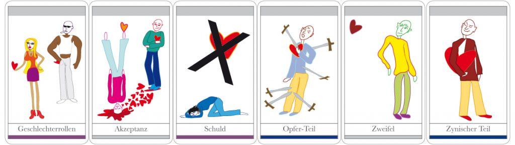 Auswahl der Illustrationen zu den Beziehungs-Karten